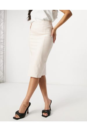River Island Faux leather midi pencil skirt in