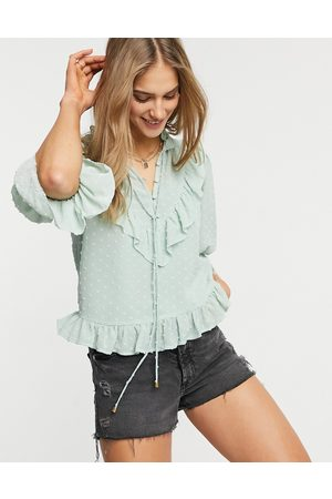 River Island Embroidered high neck blouse in sage