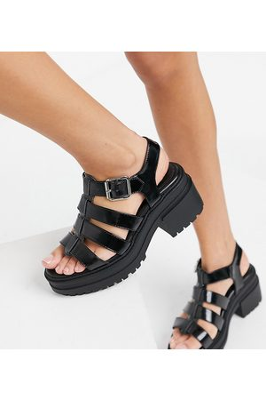 ASOS Wide Fit Hugo chunky mid heeled sandals in