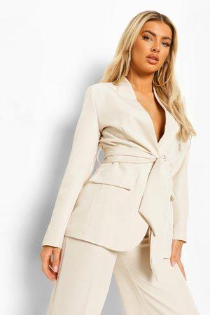 Boohoo Womens Tie Waist Longline Blazer - - 4
