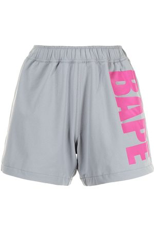 A Bathing Ape Logo-print track shorts - Grey