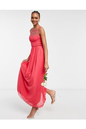 Little Mistress Bridesmaid chiffon maxi dress with pearl embellishment in coral