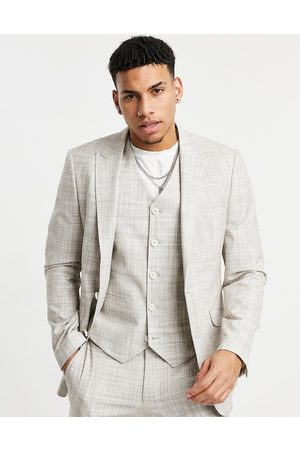 ASOS Wedding skinny suit jacket in stone crosshatch