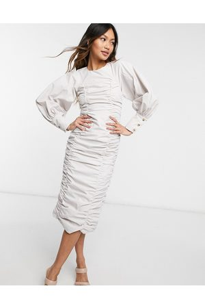 Ghospell Ruched puff sleeve midi dress in
