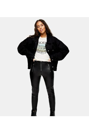 Topshop Faux leather moto pants in