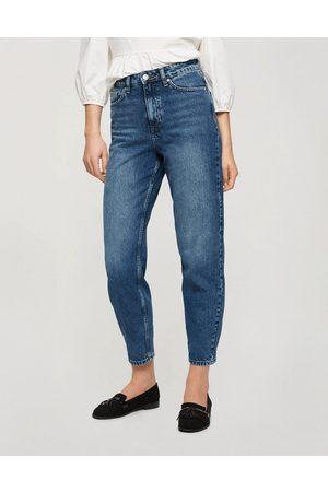 Miss Selfridge Mom high waist tapered jeans in dark blue wash-Blues