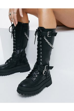 Public Desire Mari chunky knee boots with chain in