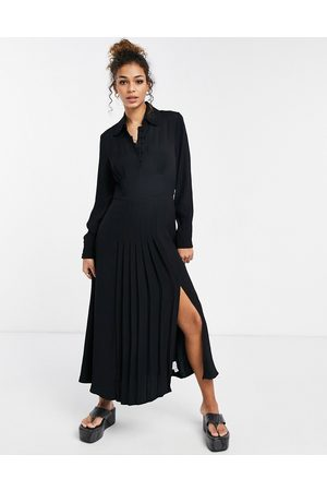 Ghost Claudette dress with long sleeves and side split in