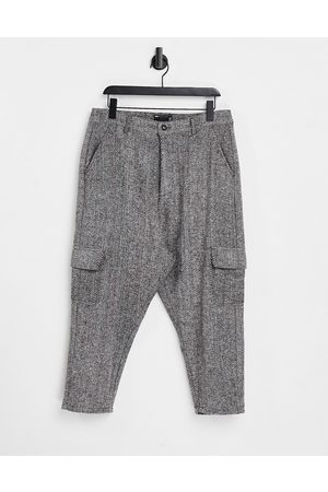 ASOS Drop crotch pants in herringbone-Grey