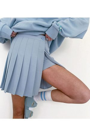 COLLUSION Pleated mini skort in blue - part of a set-Blues
