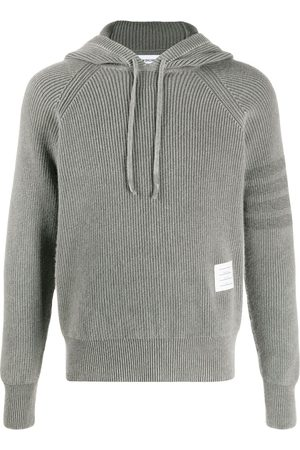 Thom Browne Cashmere knit hoodie with sleeve stripe detail - Grey