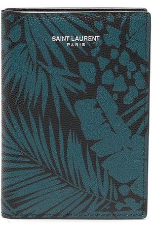 Saint Laurent Men Wallets - Leaf-print logo cardholder
