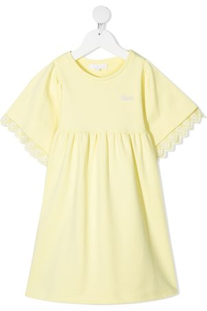 Chloé Embroidered-logo cotton-blend dress