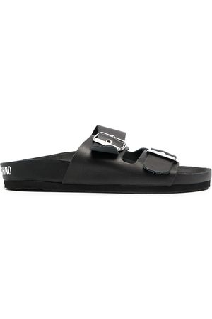 Love Moschino Buckled leathet slides