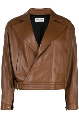 Saint Laurent Oversized leather biker jacket