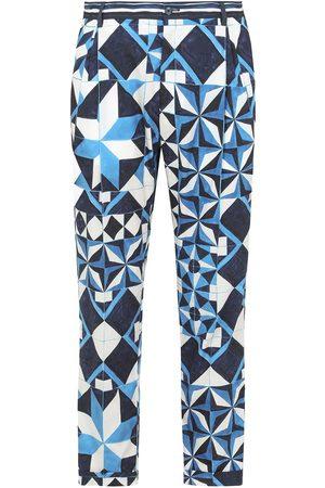Dolce & Gabbana Men Skinny Pants - Majolica-print slim-fit trousers