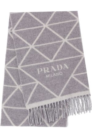 Prada Intarsia-logo fringed scarf - Grey