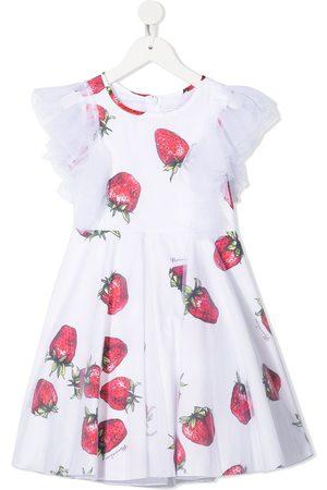 MONNALISA Ruffled strawberry print dress