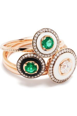 SELIM MOUZANNAR 18kt rose Mina diamond and emerald ring set