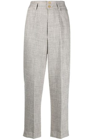 FORTE FORTE High-waisted cropped trousers - Grey