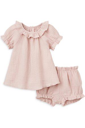 Elegant Baby Girls' Muslin Dress & Bloomers Set - Baby