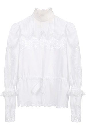 Dolce & Gabbana Lace intarsia poplin blouse