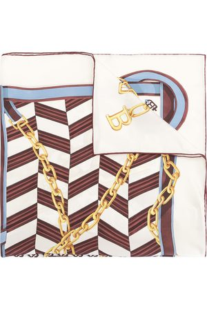 Bally B-Chain Carré silk scarf - BONE/BLUEBELL