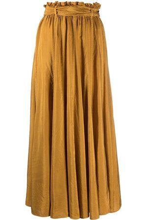 FORTE FORTE Gathered full-length silk skirt