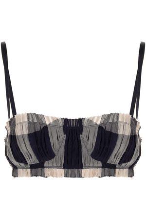 Khaite Indira checke-print bra top