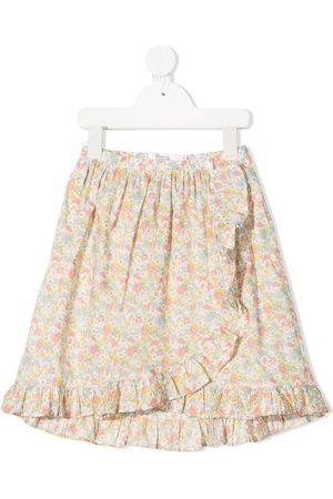 BONPOINT Ruffled floral print skirt - Neutrals