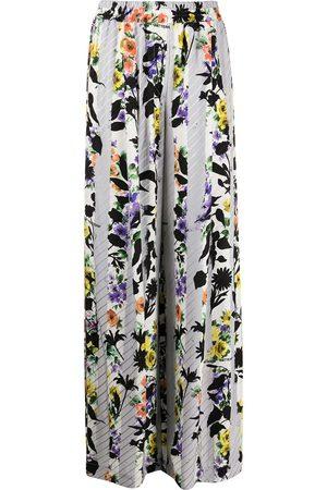 OFF-WHITE Floral-print palazzo pants - Grey
