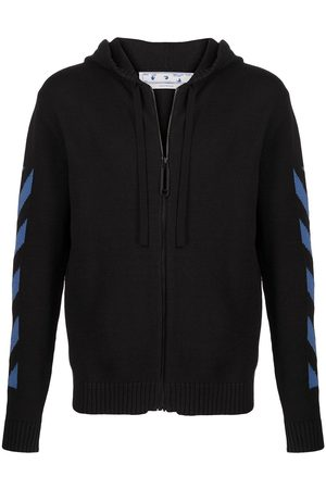 OFF-WHITE Diagonal knit zip hoodie