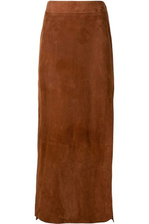 Khaite Myla side slit suede skirt