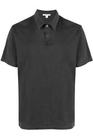 James Perse Sueded-jersey polo shirt - Grey