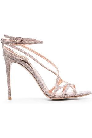 LE SILLA Metallic strap-wrap sandals