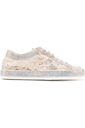 LE SILLA Claire floral lace sneakers - Neutrals