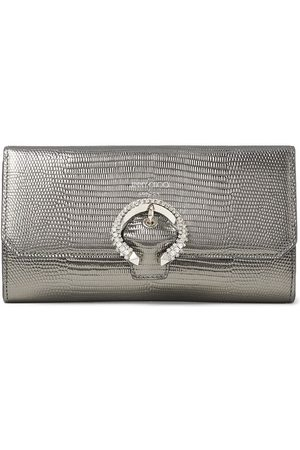 Jimmy Choo Lizard-embossed crystal-buckle chain wallet