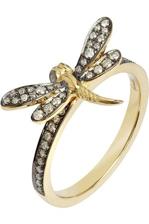 ANNOUSHKA 18kt yellow gold diamond Love Dragonfly ring
