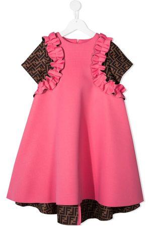 Fendi FF-print ruffled dress