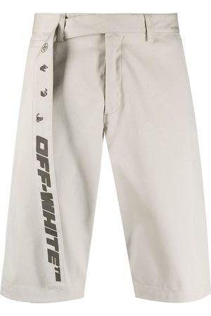OFF-WHITE Industrial belt knee-length shorts - Neutrals