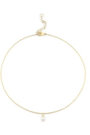 Mateo Women Body Jewelry - 14kt yellow single pearl drop chain anklet