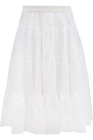Loup Charmant Women Midi Skirts - Fontelli Tiered Cotton-eyelet Midi Skirt - Womens
