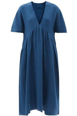 Loup Charmant Riva V-neck Cotton-gauze Midi Dress - Womens - Navy