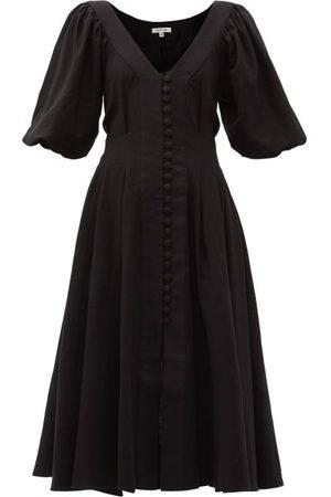 Fil De Vie Casablanca Tie-waist Linen Midi Dress - Womens