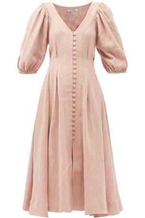 Fil De Vie Casablanca Tie-waist Linen Midi Dress - Womens - Light