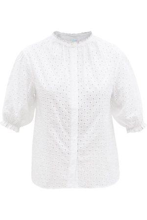Loup Charmant Women Blouses - Pico Ruffled Cotton-eyelet Blouse - Womens