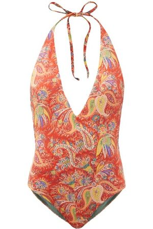 Etro Plunge-neck Paisley-print Swimsuit - Womens - Multi