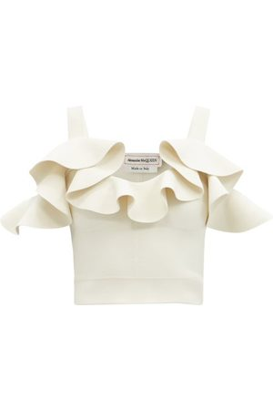 Alexander McQueen Flounced-neck Cold-shoulder Jersey Top - Womens - Ivory