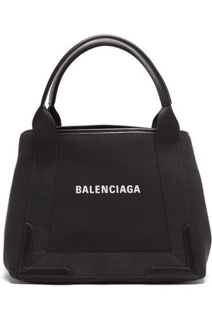 Balenciaga Women Wallets - Cabas S Logo-print Leather-print Canvas Tote Bag - Womens
