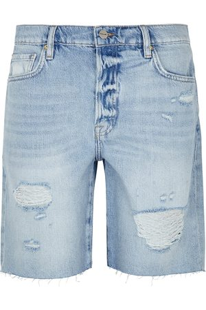 Frame Le Slouch Bermuda distressed denim shorts